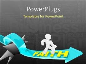 PowerPlugs: PowerPoint template with a person with an arrow and a number of words in the background