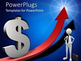 PowerPlugs: PowerPoint template with a person with an arrow sign and a dollar sign