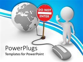 PowerPlugs: PowerPoint template with a person asking you not to enter the data