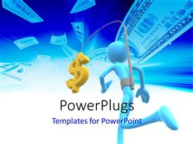 PowerPlugs: PowerPoint template with a person attached to a dollar note with bluish background