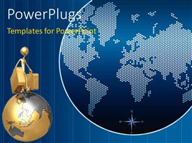 PowerPlugs: PowerPoint template with a person with a bag and a golden globe