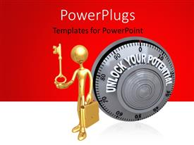 PowerPlugs: PowerPoint template with a person with a bag and a key along with reddish background