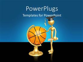 PowerPoint template displaying a person with a basketball and bluish background