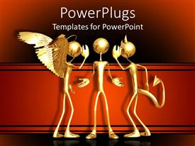PowerPlugs: PowerPoint template with a person being advised by a devil and an angel