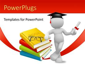 PowerPlugs: PowerPoint template with a person being happy on achieving the degree