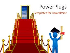 PowerPlugs: PowerPoint template with a person being happy on graduation with a door in the background