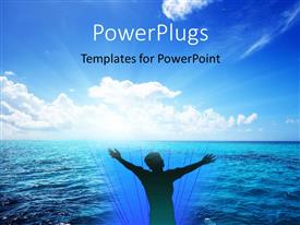 PowerPoint template displaying a person being happy in the sea