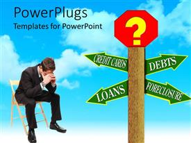 PowerPlugs: PowerPoint template with a person being worried and thinking about debts, credit cards and loans