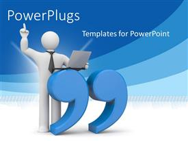 PowerPlugs: PowerPoint template with a person with bluish lines in the background