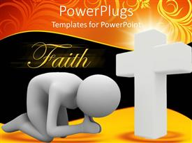 PowerPlugs: PowerPoint template with a person bowing in front of the holy cross