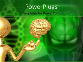 PowerPlugs: PowerPoint template with a person with a brain and a greenish background
