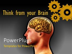 PowerPlugs: PowerPoint template with a person brain with a number of gears in background