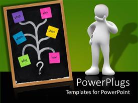 PowerPoint template displaying a person with a brainstorming chart including different steps