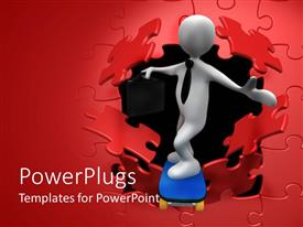 PowerPlugs: PowerPoint template with a person breaking the wall and coming out of a place with bag in his hand