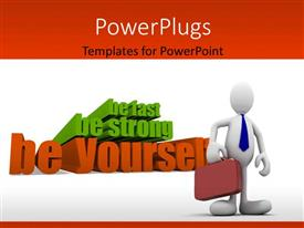 PowerPlugs: PowerPoint template with a person with a brief case and various words in background