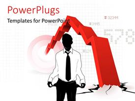 PowerPlugs: PowerPoint template with a person who is broke and the sign of recession in background