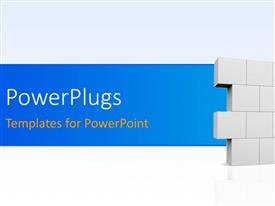 PowerPlugs: PowerPoint template with 3D man builds wall on white background