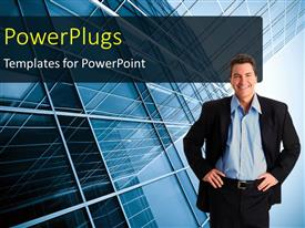 PowerPlugs: PowerPoint template with a person with building in the background