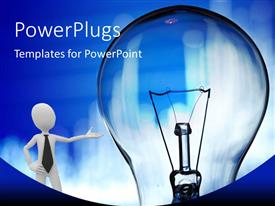 PowerPlugs: PowerPoint template with a person with a bulb with bluish background