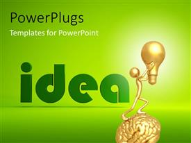 PowerPoint template displaying a person with a bulb and the word idea