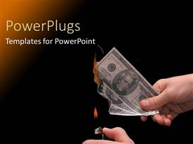 PowerPoint template displaying a person burning the dollar notes with blackish background