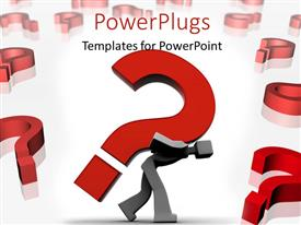 PowerPlugs: PowerPoint template with a person carrying the question mark on his back with a lot of question marks in the background