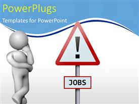 PowerPlugs: PowerPoint template with a person with a caution sign and white background