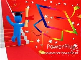 PowerPlugs: PowerPoint template with a person celebrating his graduation with stars in the background