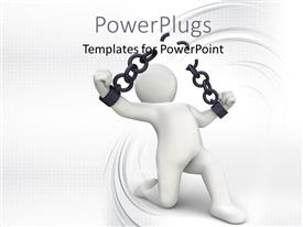 PowerPlugs: PowerPoint template with a person with a chain and white background