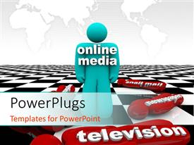 PowerPlugs: PowerPoint template with a person with a chess board in background