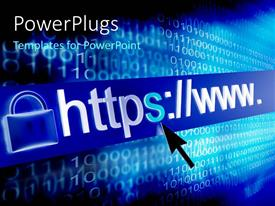 PowerPlugs: PowerPoint template with a person clicking on the web address with binary numbers in the background