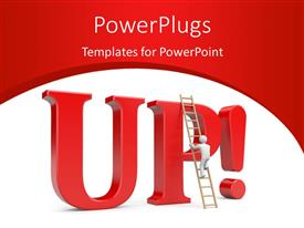 PowerPoint template displaying person climb on 'UP' word depicting success with red curve