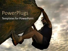 PowerPlugs: PowerPoint template with a person climbing a difficult mountain