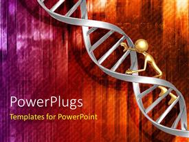 PowerPlugs: PowerPoint template with a person climbing on the DNA structure