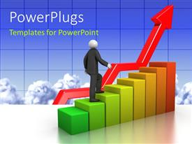 PowerPlugs: PowerPoint template with a person climbing the growth bar with clouds in the background
