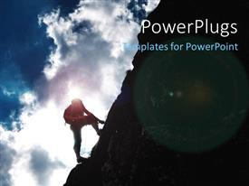 PowerPoint template displaying a person climbing the hill but facing problems