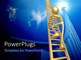 PowerPlugs: PowerPoint template with a person climbing the ladder with bluish background