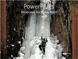PowerPoint template displaying a person climbing the mountain with beautiful scenery in the background