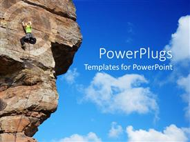 PowerPlugs: PowerPoint template with a person climbing the mountain and is being highlighted