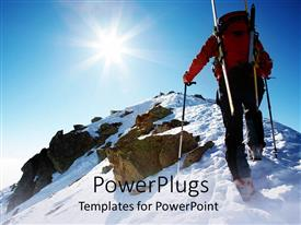 PowerPlugs: PowerPoint template with a person climbing a mountain on a sunny day