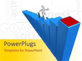 PowerPlugs: PowerPoint template with a person climbing through the bars with white background