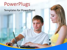 PowerPlugs: PowerPoint template with a person with his colleague and windows in background