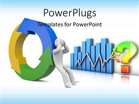 PowerPlugs: PowerPoint template with a person with a colorful circle with a bluish background