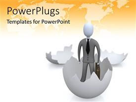 PowerPlugs: PowerPoint template with a person coming out of an egg with map in the background