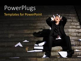 PowerPlugs: PowerPoint template with a person confused and angry sitting on the stairs