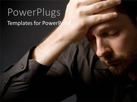 PowerPlugs: PowerPoint template with a person who is confused with blackish background