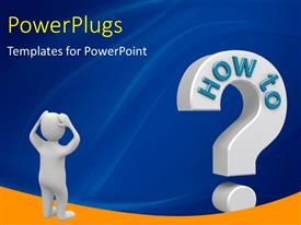 PowerPlugs: PowerPoint template with a person who is confused with bluish background