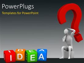 PowerPoint template displaying a person who is confused with a number of dices