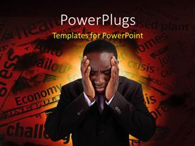 PowerPlugs: PowerPoint template with a person who is confused with a number of words in background