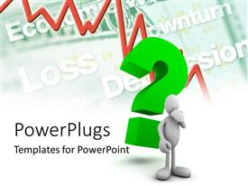 PowerPlugs: PowerPoint template with a person who is confused with a recession line in the background